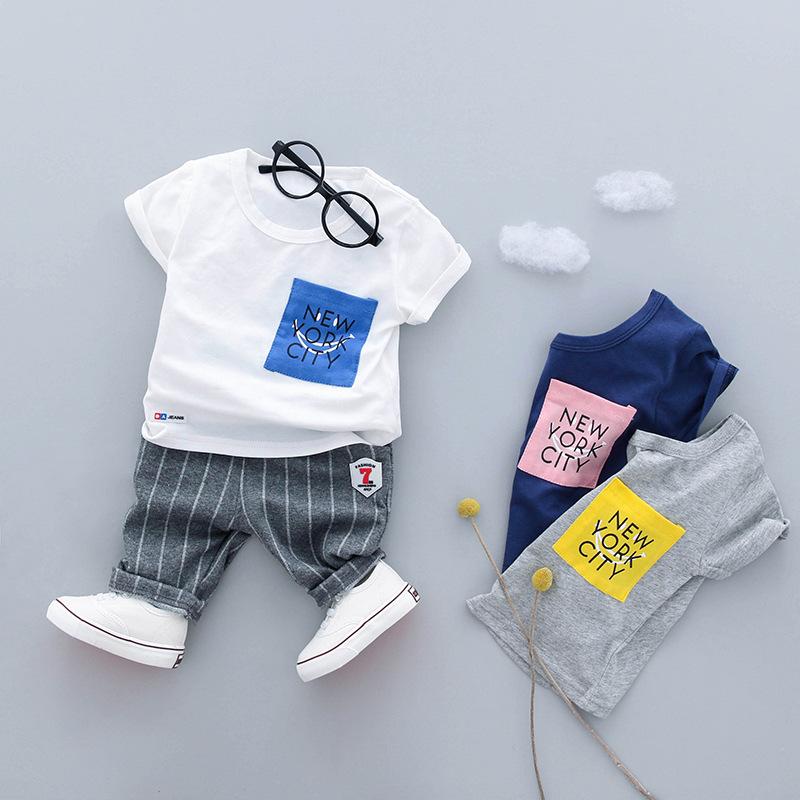 ชุดเซตเสื้อสีขาวสกรีน newyork city+กางเกงลายทางสีเทา แพ็ค 4 ชุด [size 6m-1y-2y-3y]