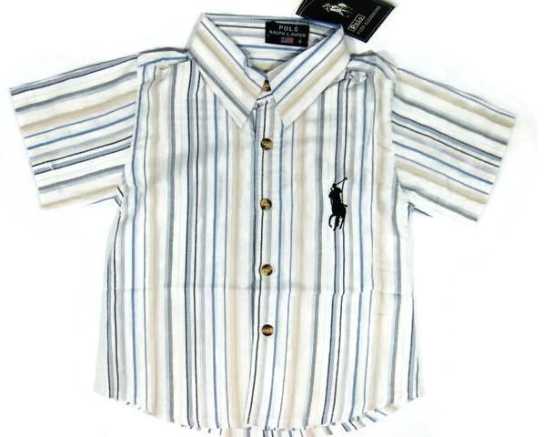 SH111 POLO RALPH LAUREN เสื้อเชิ้ตเด็กแขนสั้น ผ้าคอตตอน นิ่ม พริ้วนิด ๆ ลายริ้วสลับสี โทนฟ้าอ่อน-ครีม ปักม้า ผ้ามีลายในตัว Size 8/10/12