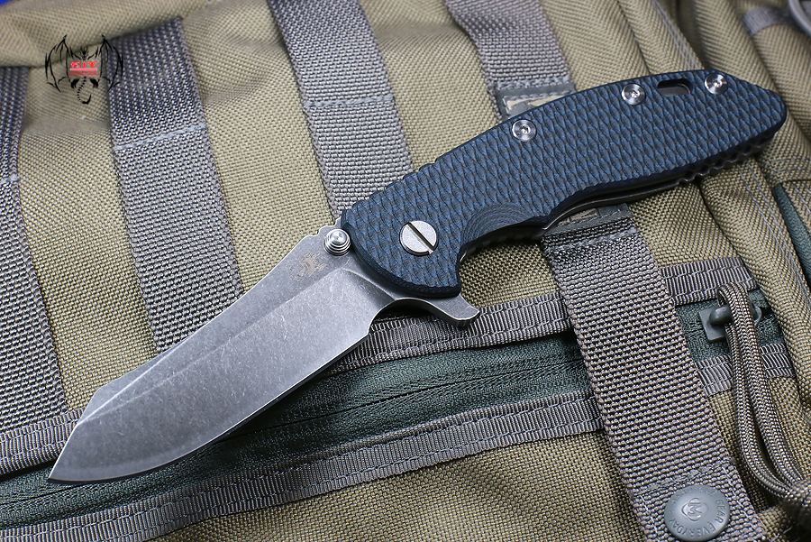 "RHK XM18 3.5"" Skinner Battle Black Blade Blue/Black G-10"