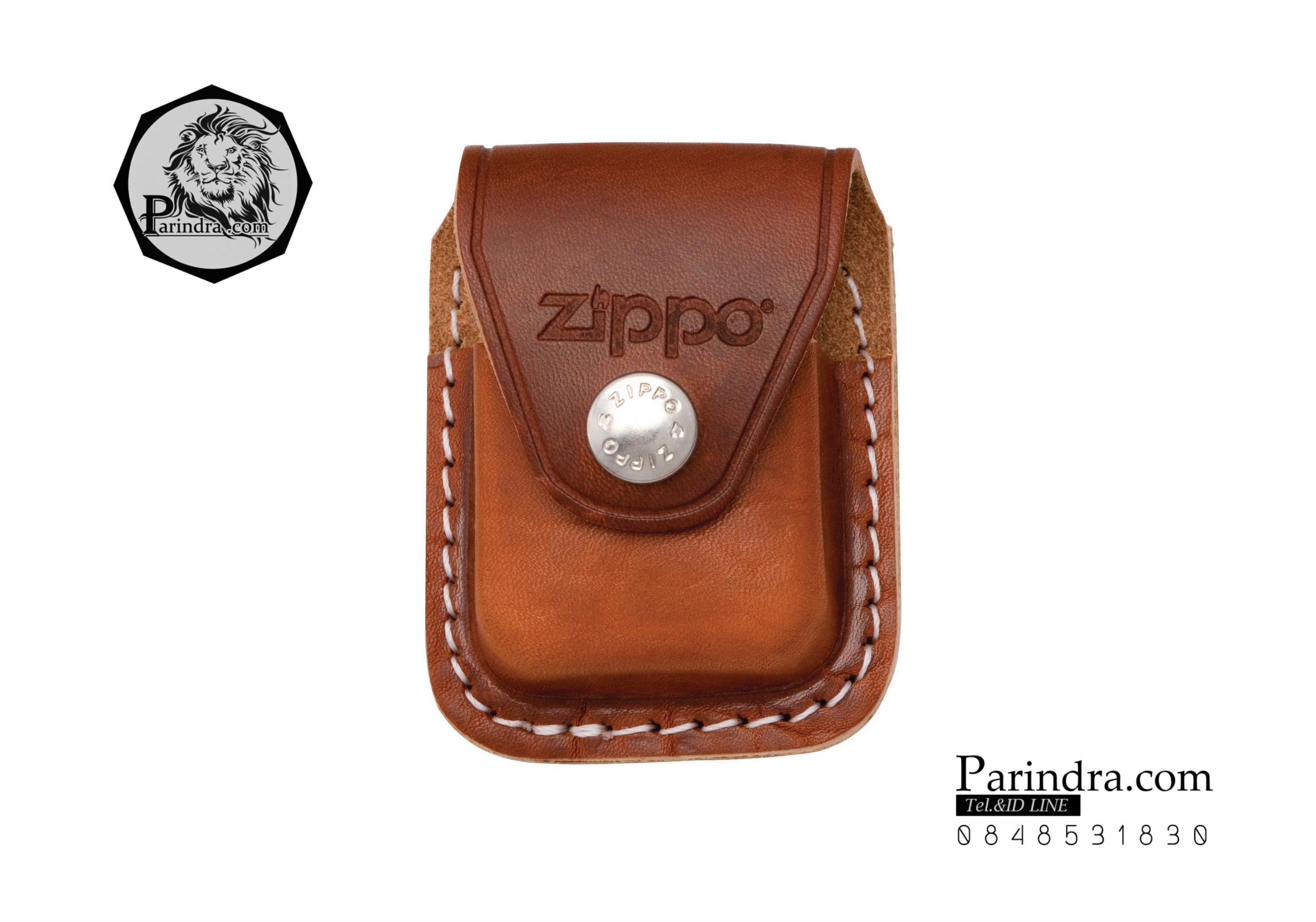 กระเป่าหนังใส่ไฟแช็ค Zippo แท้ - Genuine Zippo LPCB, Brown Leather Lighter Pouch with Clip แบบคลิปเหน็บ
