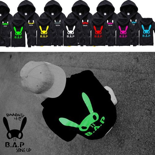 เสื้อแฟชั่นแขนยาว เสื้อคลุม เสื้อกันหนาว B.A.P LOGO 2014 : Jongup สีเขียว