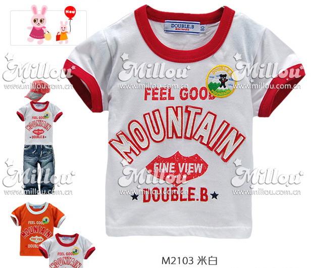 M2103-W DOUBLE.B Miki house เสื้อยืดเด็ก สีขาว สกรีนและปักแปะ Mountain เหลือ Size 100/120