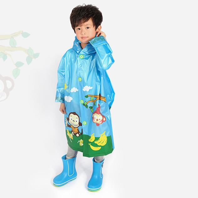 เสื้อกันฝนลายลิงพร้อมซอง (สีฟ้า) [size 6y]