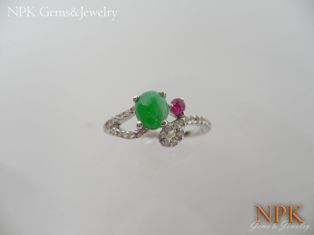แหวนเงินหยกพม่า(Silver ring Burma jade)