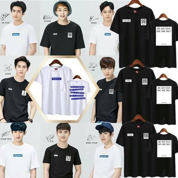เสื้อยืด เสื้อแฟชั่นเกาหลี EXO SPAO งานแฟนเมด (ระบุชื่อศิลปินที่ช่องหมายเหตุ)
