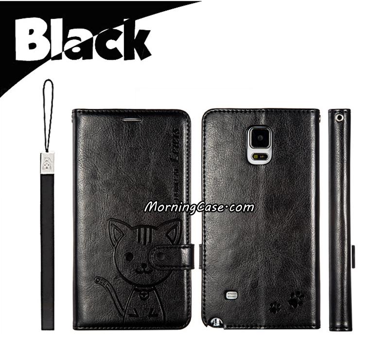 เคสฝาพับ Galaxy Note 4 รุ่น Leiers Domi Cat สีดำ สุดยอดเคสไดอารี่คุณภาพดี!