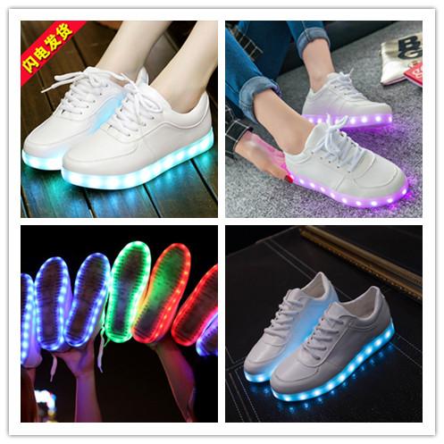 รองเท้าผ้าใบมีไฟ LED สีขาว (เปลี่ยนสีได้ 7 สี)