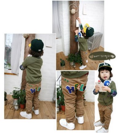 SEV1015 เสื้อผ้าเด็กนำเข้า-พร้อมส่ง TWO&SEVEN กางเกงเด็กแนว ขาเดฟ ปักแปะ HELLO ด้านหลัง เหลือ สีดำ Size 90