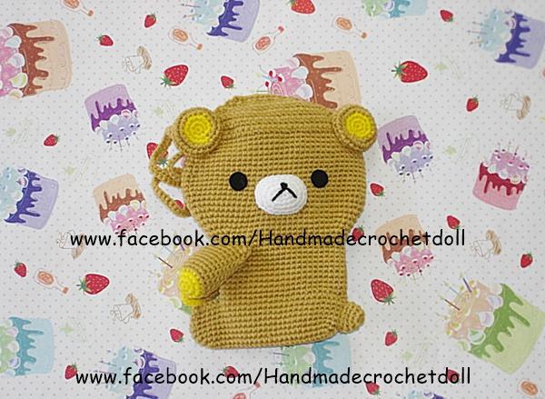 กระเป๋าใส่โทรศัพท์มือถือไหมพรม หมีคุมะ