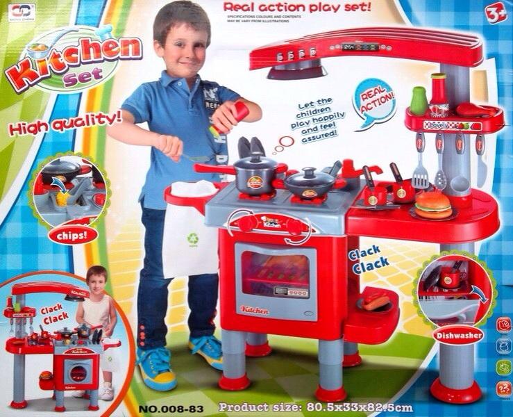 ครัวเคาน์เตอร์สีแดงชุดใหญ่ของเด็ก ขนาด 83cm