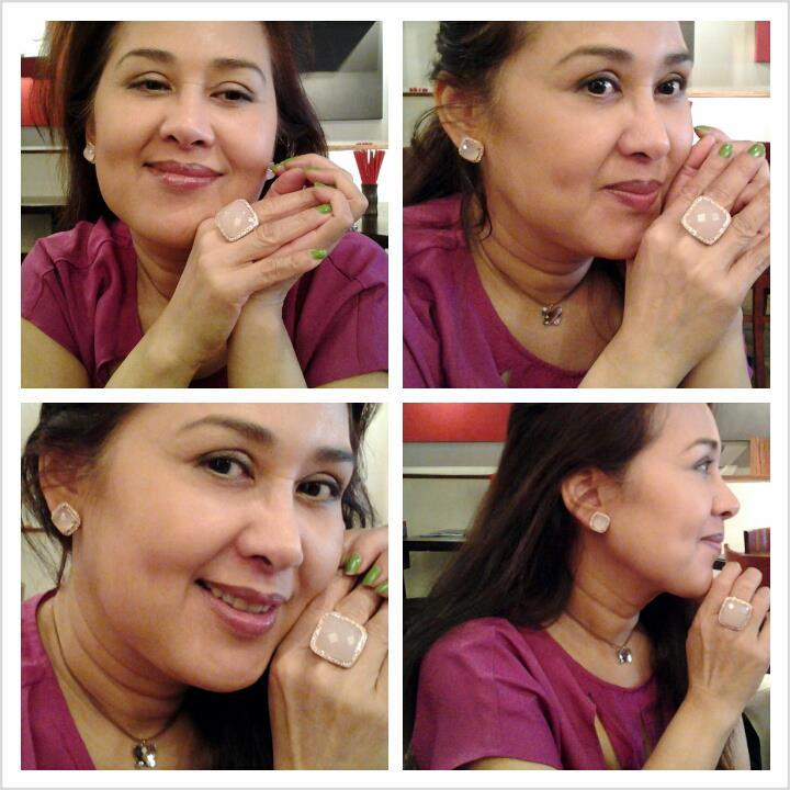 Review แหวนและต่างหูโรสควอซต์ Silver ring and earring rose quartz