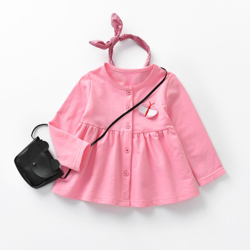 เสื้อแขนยาวสีชมพูแต่งผีเสื้อที่หน้าอก [size 2y-3y-4y-5y-6y]
