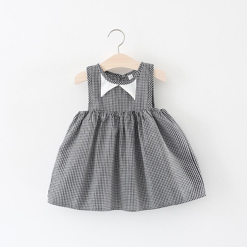 ชุดเดรสลายสก็อตสีดำปกคอสีขาว [size 6m-1y-18m-2y]