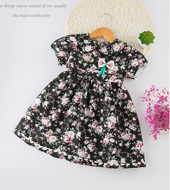 ชุดเดรสลายดอกไม้สีดำ [size 2y-3y-4y-5y-6y]