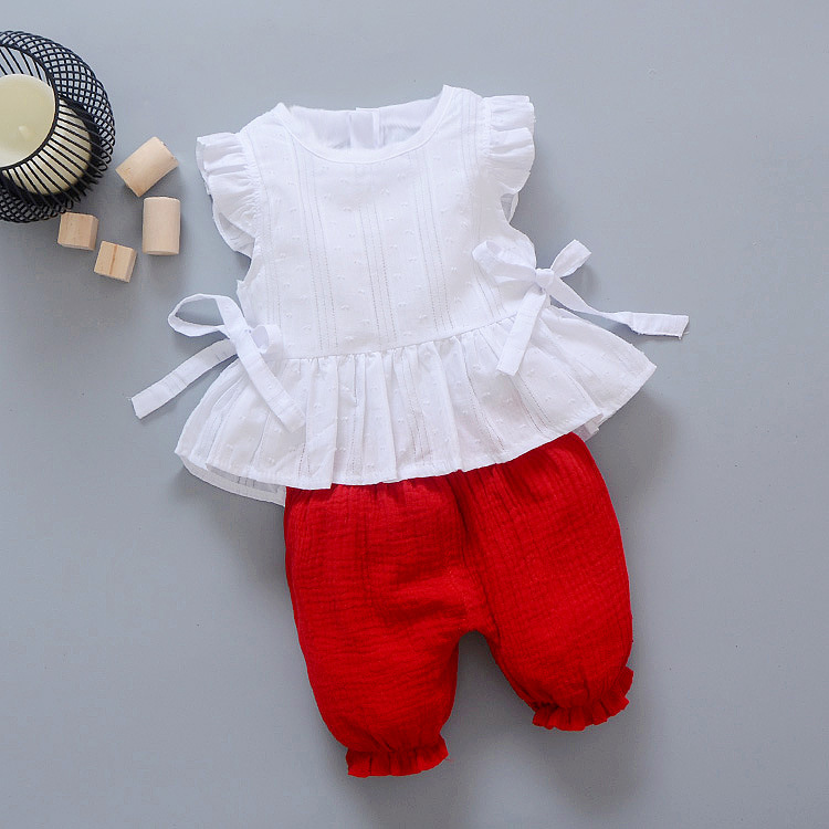 ชุดเซตเสื้อสีขาว+กางเกงสีแดง แพ็ค 4 ชุด [size 6m-1y-2y-3y]