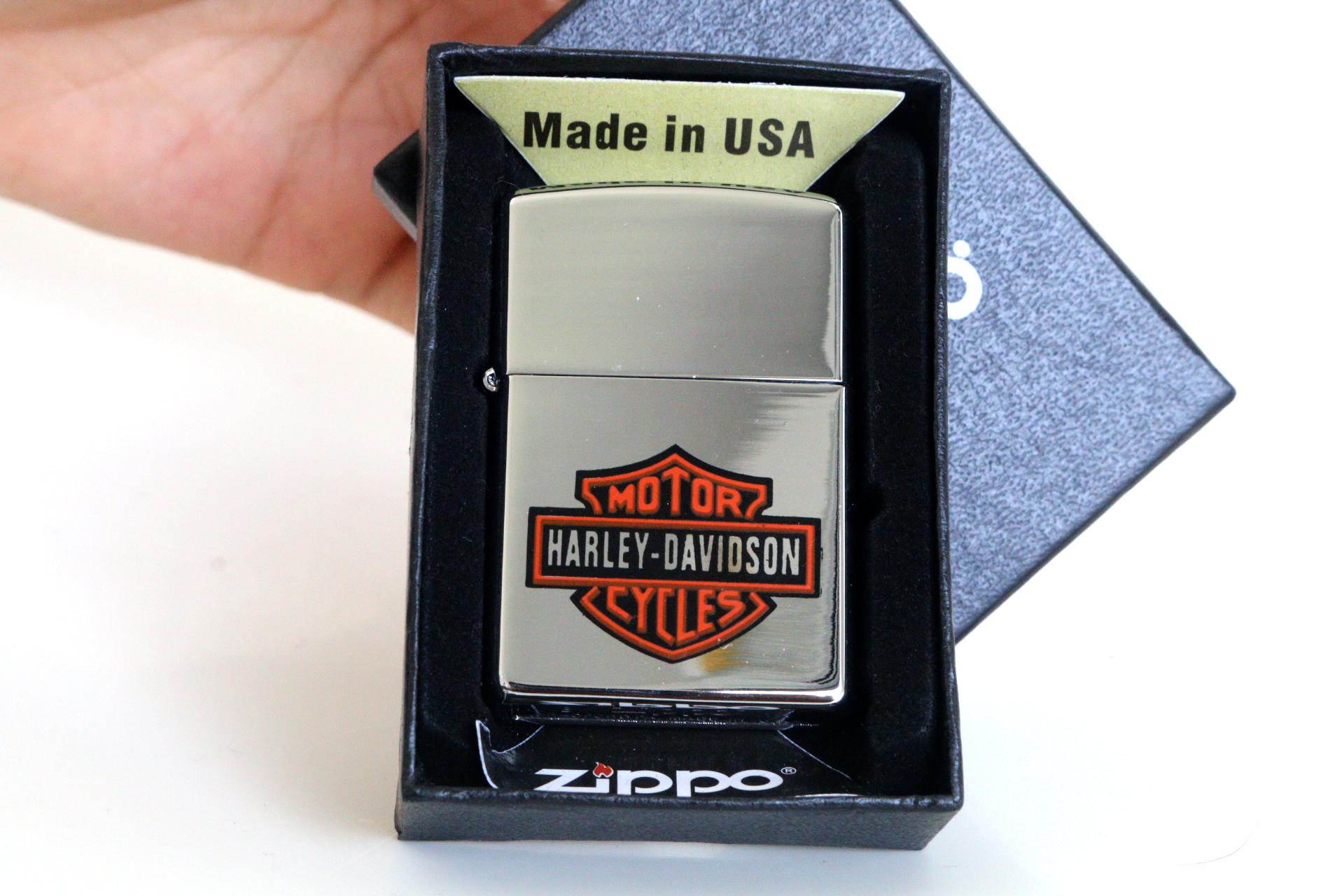 ไฟแช็ค Zippo ลายซิปโป้ ลาย Harley Davidson สกินสี ทนทาน ตัวงาน Mirror