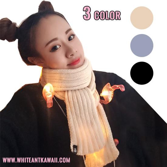 [พร้อมส่ง] SC6664 ผ้าพันคอไหมพรม แบบพันรอบคอ สไตล์เกาหลี Korean Style