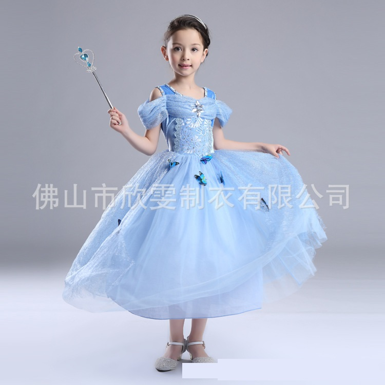 ชุดเดรสสไตล์เจ้าหญิงสีฟ้า [size 3y-4y-5y-6y-7y]