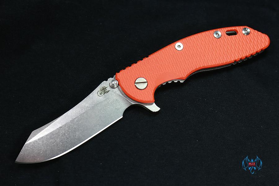 "RHK XM18 3.5"" Skinner Stonewashed Blade Orange G-10"