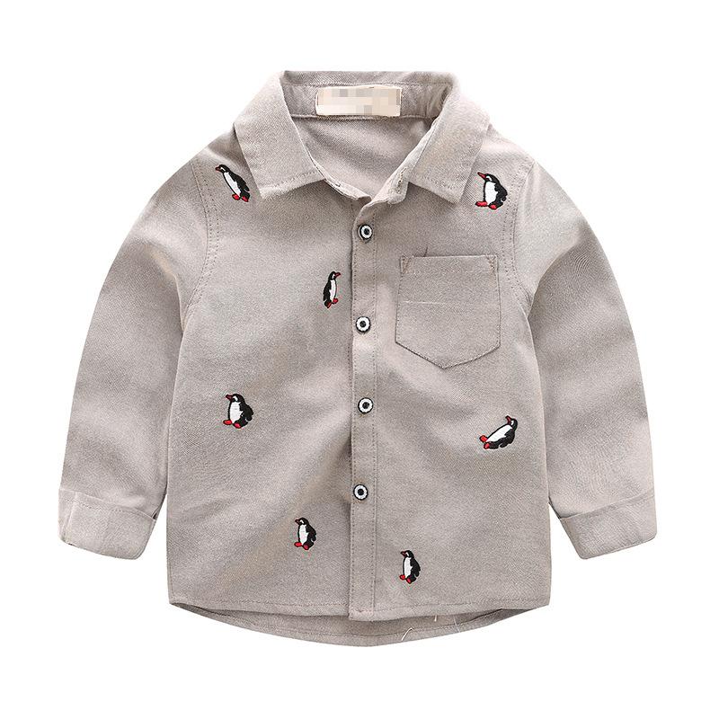 เสื้อเชิ้ตแขนยาวสีน้ำตาลลายเพนกวิน แพ็ค 5 ชิ้น [size 1y-2y-3y-4y-5y]