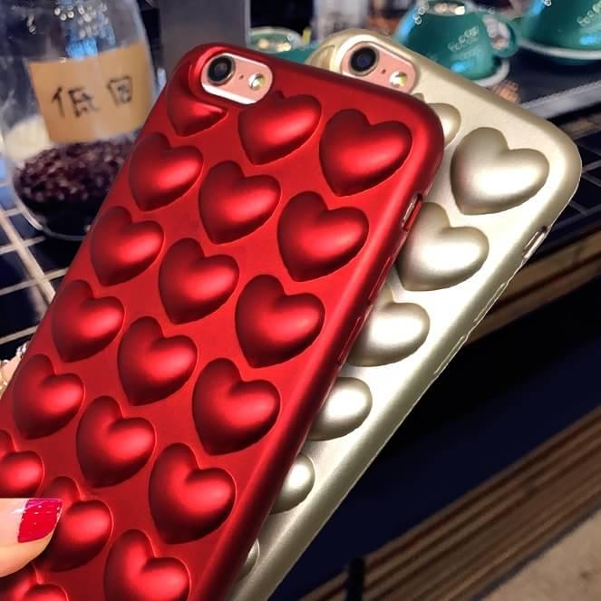 เคส ไอโฟน 5/5se/5s tpu หัวใจนูนเนื้อกำมะหยี่