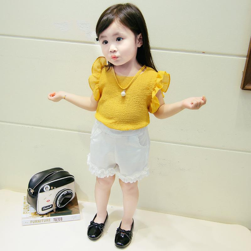 ชุดเซตเสื้อสีเหลือง+กางเกงสีขาว แพ็ค 5 ชุด [size 6m-1y-18m-2y-3y]