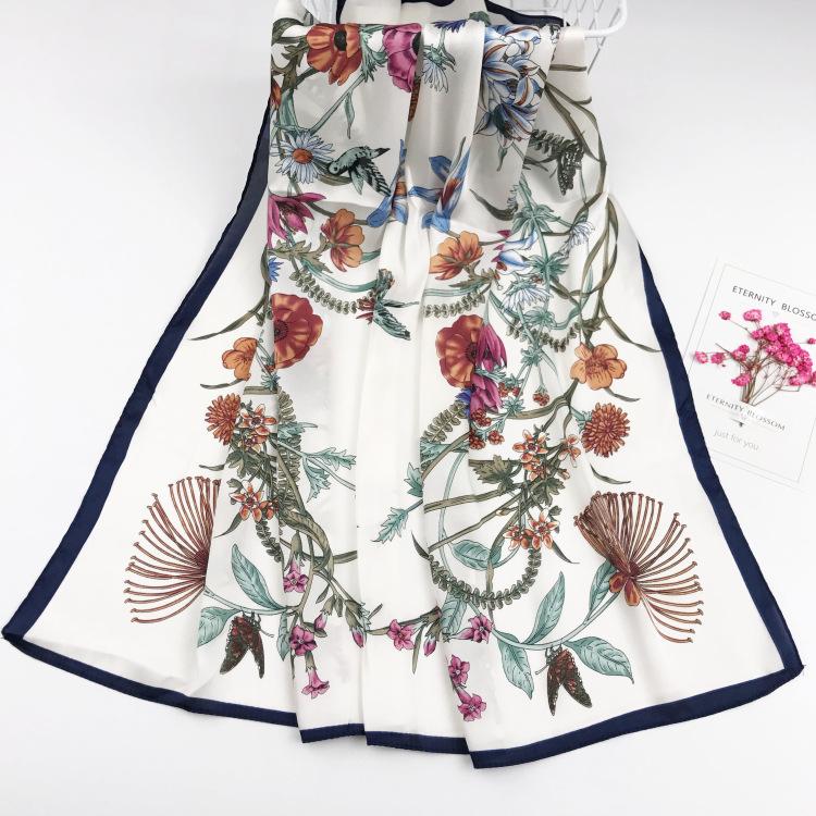 [พร้อมส่ง] SC7543 ผ้าพันคอ ผ้าคลุมไหล่ไหมซาติน นุ่มลื่น ลายดอกไม้