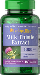 Puritan's Pride Milk Thistle 1000 mg (Silymarin) 180 Softgels