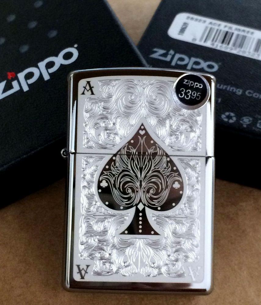 """ไฟแช็ค Zippo แท้ โพธิ์ดำแกะสลัก """" Zippo 28323 Ace of Spades Filigree Black Ice Finish"""" แท้นำเข้า 100%"""