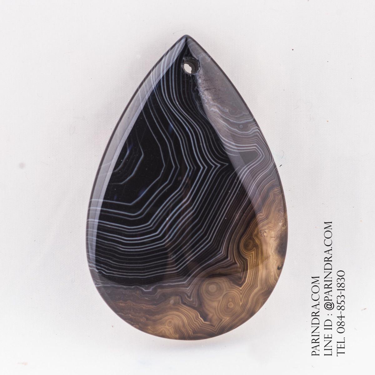 หินอาเกต AGATE ลวดลายสีดำแซมน้ำตาล AGT011