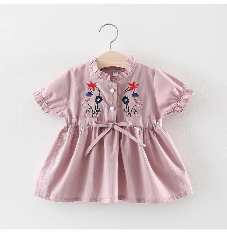 ชุดเดรสสีชมพูปักลายดอกไม้ที่หน้าอก [size 6m-18m-2y]