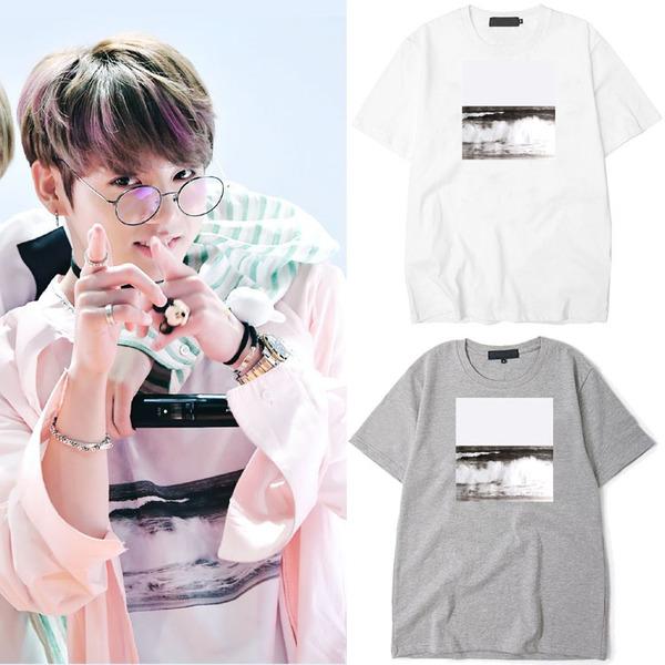 เสื้อยืด (T-Shirt) พิมพ์ลายคลื่นทะเล แบบ Jungkook