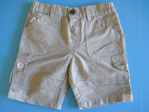 EXSP198 Be Be Extreme (Baby Extreme) กางเกงขาสั้น ผ้าเวสปอยท์เนื้อบาง สีกากี ผ้ามีลายในตัว ดีไซน์สไตล์คาร์โก้ เหลือ Size 12M