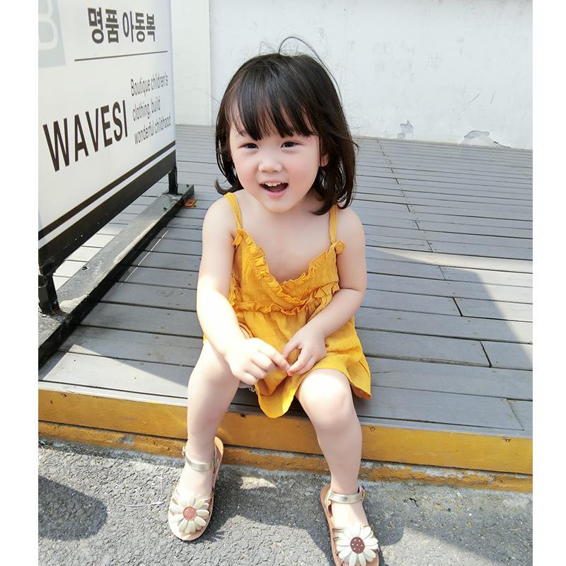 ชุดเดรสสายเดี่ยวสีเหลือง [size 2y-3y-4y-5y-6y]