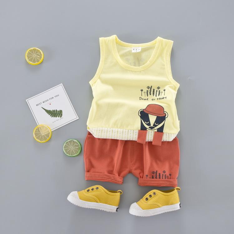ชุดเซตเสื้อกล้ามสีเหลืองลายแรคคูณ แพ็ค 4 ชุด [size 6m-1y-2y-3y]
