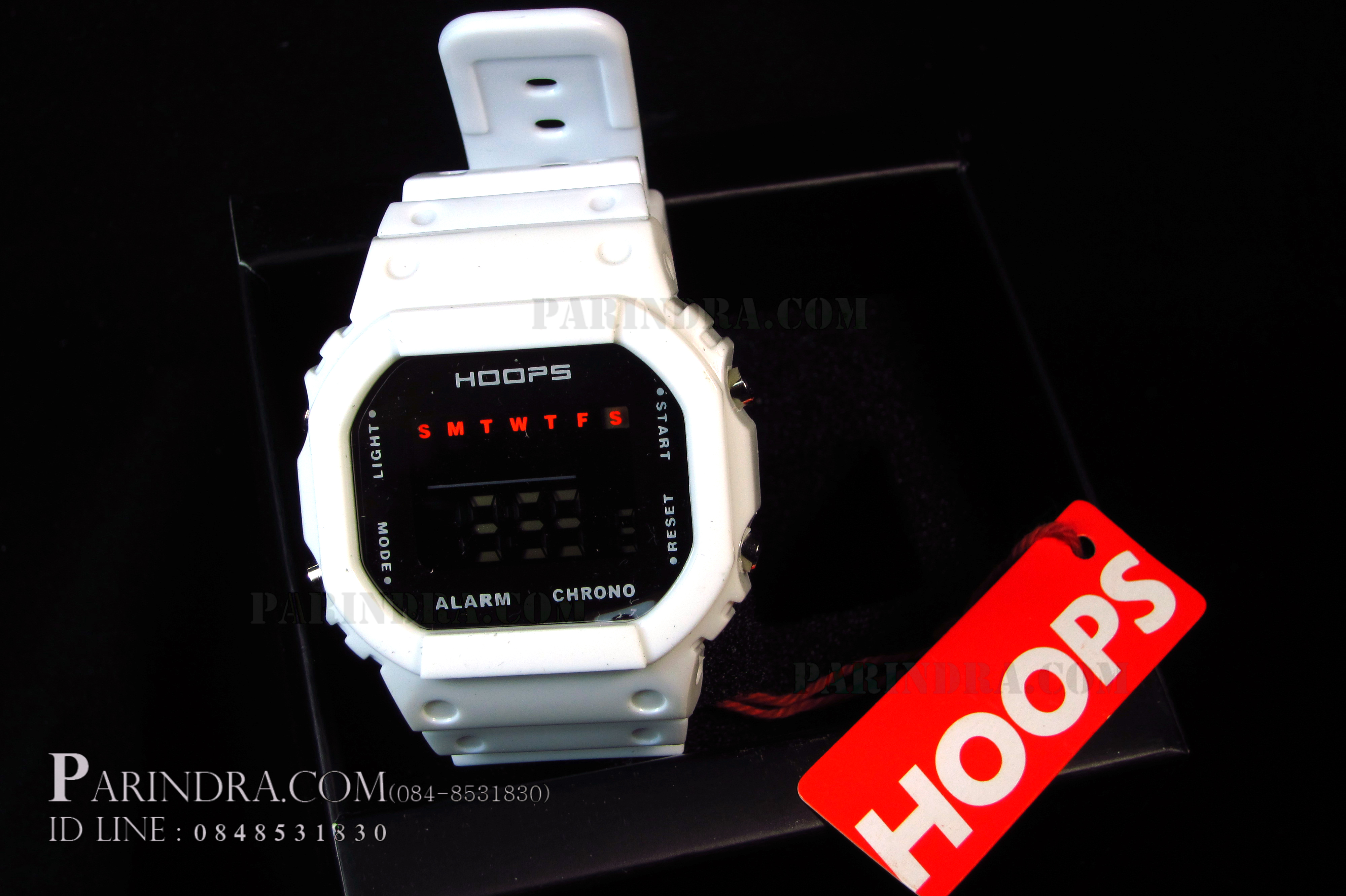 นาฬิกา Hoops ระบบดิจิตอลสีขาวทึบ