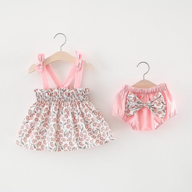 ชุดเซตเสื้อลายดอกไม้สีชมพู+กางเกงใน แพ็ค 4 ชุด [size 6m-1y-18m-2y]