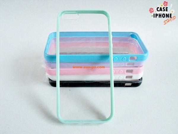 เคสไอโฟน 5 ขอบยาง หลังใส กระจก