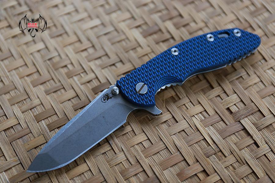 "RHK XM18 3.5"" Spanto Stonewashed Blade Blue/Black G-10"