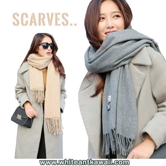 [พร้อมส่ง] SC6674 ผ้าพันคอกันหนาวแคชเมียร์ เนื้อนุ่ม สีพื้นสุดคลาสสิค สไตล์เกาหลี Korean Style