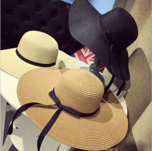 [พร้อมส่ง] HE7197 หมวกใส่เที่ยวทะเล ปีกกว้าง ตกแต่งด้วยริบบิ้นโบสุดน่ารัก