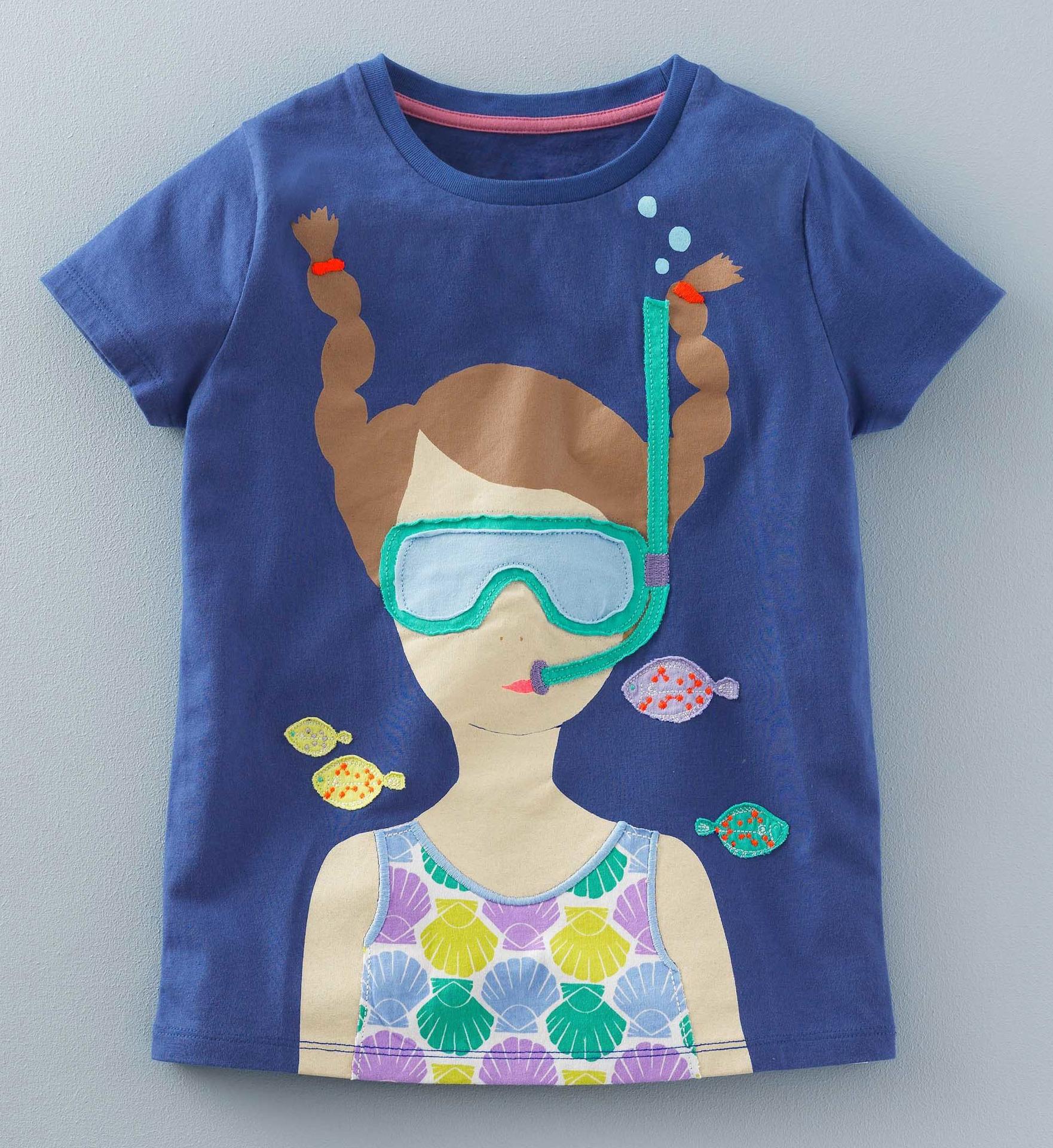 เสื้อแขนสั้นสีกรมท่าลายเด็กผู้หญิงดำน้ำ [size 2y-3y-4y-5y]