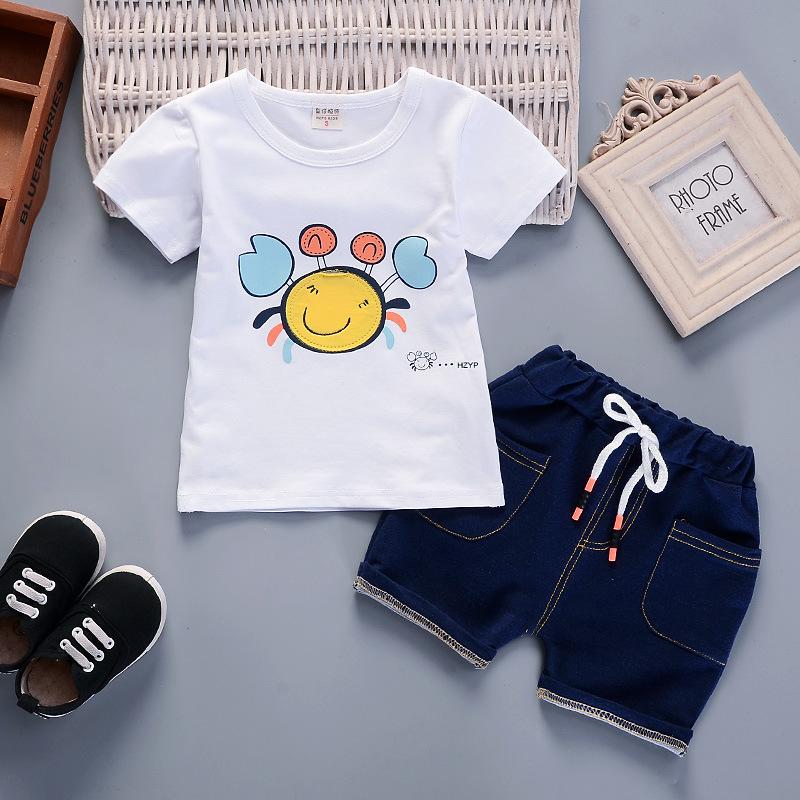 ชุดเซตเสื้อสีขาวลายปู+กางเกง แพ็ค 4 ชุด [size 6m-1y-2y-3y]
