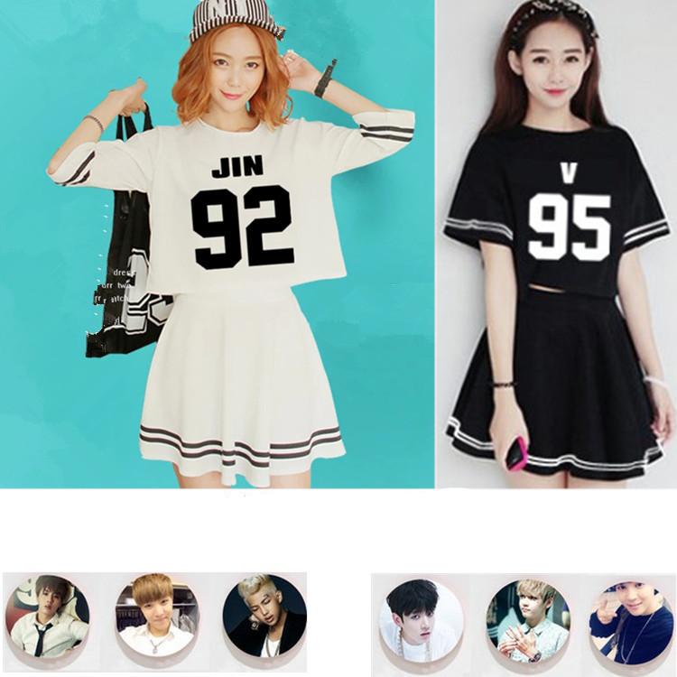 ชุดเซตเสื้อ+กระโปรง BTS (ชื่อเมมเบอร์)