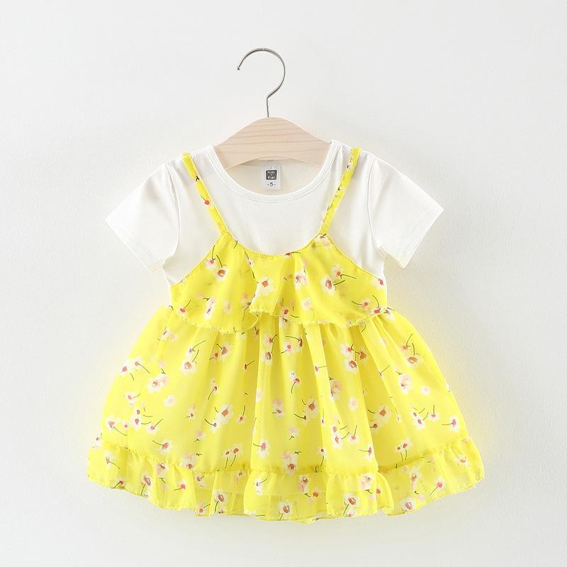 ชุดเดรสเสื้อสีขาวกระโปรงดอกไม้สีเหลือง [size 6m-1y-18m-2y]