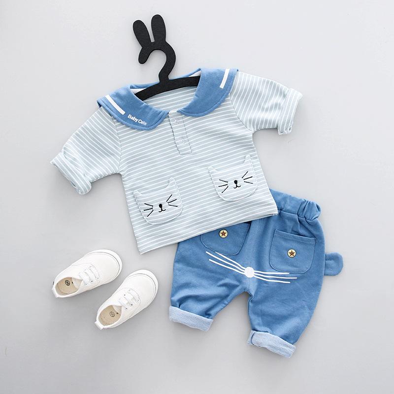 ชุดเซตเสื้อลายขวางสีฟ้าแต่งกระเป๋าลายน้องแมว+กางเกง แพ็ค 3 ชุด [size 6m-1y-3y]