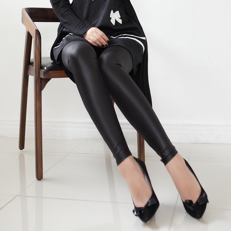 [พร้อมส่ง] L7209 กางเกงเลกกิ้งขาวยาว ผ้ามัน เอวยางยืด สวมใส่สบาย