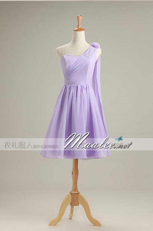 พร้อมส่ง ชุดราตรีสั้น ชุดเพื่อนเจ้าสาว สีม่วงอ่อน Lavender Lv-001D