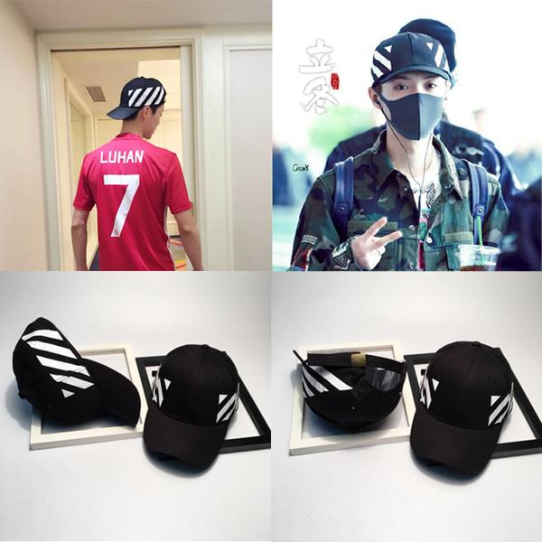 หมวกแฟชั่นเกาหลี หมวกเบสบอล LUHAN สีดำ