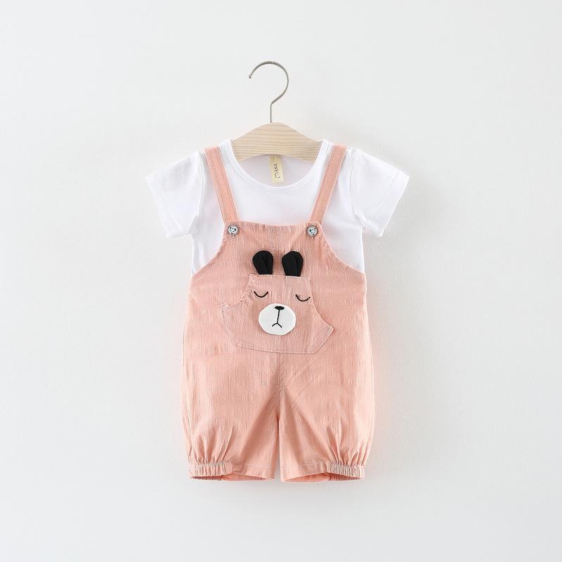 ชุดเซตเสื้อสีขาว+เอี๊ยมน้องหมีสีชมพู แพ็ค 4 ชุด [size 6m-1y-18m-2y]